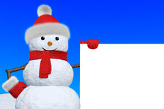 Snowman with blank white board Stock Photo