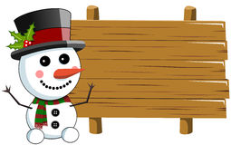 Snowman blank wooden sign Royalty Free Stock Image