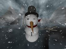 Snowman Blizzard. A snowman fights his way through a blizzard vector illustration