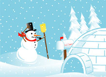 Snowman in a blizzard Stock Photos
