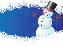 Snowman with blue background. Snowman wearing a hat, on a blue background and snowflakes. Illustrator file with layers vector illustration