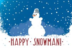 Snowman on a blue background stock illustration