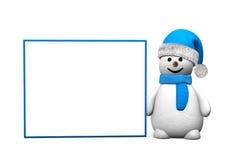 Snowman Blue Board Stock Image