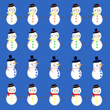 Snowman on blue Stock Photos