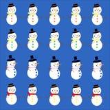 Snowman on blue Stock Photos