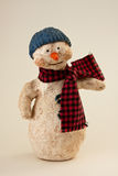 Papier Mache Snowman Hat & Scarf Royalty Free Stock Image