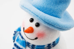 Snowman in a blue hat Royalty Free Stock Photos