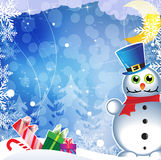 Snowman in blue hat Royalty Free Stock Photo