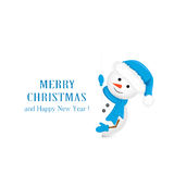 Snowman in blue hat and Christmas greetings Stock Photo