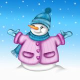 Snowman with blue hat Royalty Free Stock Photo