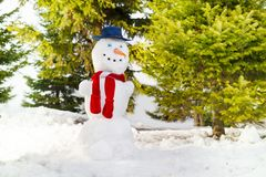 Snowman with blue hat and red scarf he forest Royalty Free Stock Photos