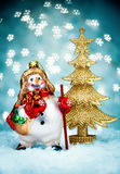 Snowman with Blue Holiday Background Royalty Free Stock Images