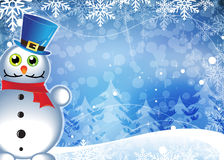 Snowman in blue pot Stock Photo