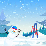 Snowman on blue snow sky background and tree. Snow fall greeting. Royalty Free Stock Photo