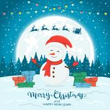 Snowman on Blue Winter Background with Gifts and Christmas Lights. Happy snowman with colorful Christmas lights and gifts on snow. Santa with reindeer and text stock illustration