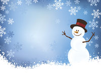 Snowman on Blue Winter Scene Background Stock Image