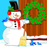 Snowman and bluebirds Stock Photography