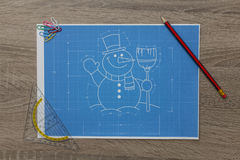Snowman Blueprint Stockfotos