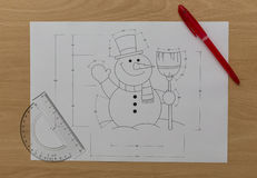 Snowman Blueprint Lizenzfreie Stockfotografie