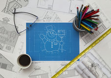 Snowman Blueprint Stockbild