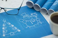 Snowman blueprint - shallow depth of field Royalty Free Stock Photo