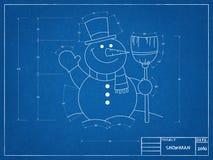 Snowman - Blueprint. Shoot of the Snowman - Blueprint Stock Photography