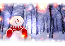 Snowman on blur winter forest background Stock Photos