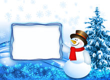 Snowman with the board Stock Photos