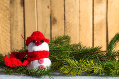 Snowman board wooden Christmas winter plush Stock Photography
