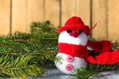 Snowman board wooden Christmas winter plush Stock Photos