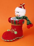 Snowman in boot Royalty Free Stock Images