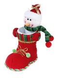 Snowman in boot on white Royalty Free Stock Photo