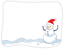 Snowman border / frame. A border illustration featuring a smiling snowman on snow background. snowman Christmas border Royalty Free Stock Images