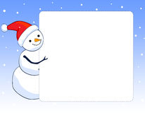 Snowman border / frame. A border illustration featuring a smiling snowman with falling snow on clean blue background. snowman Christmas border Stock Photos