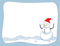 Snowman border / frame. A border illustration featuring a smiling snowman on snow background. snowman Christmas border Stock Images