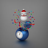 Snowman bounced out from sphere alarm clock Stock Photos