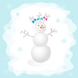 Snowman with a bow in the forest. Vector illustration. Perfect for design cards, holiday decoration, Christmas card Stock Photography