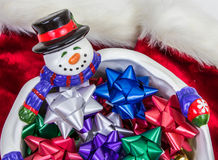 Snowman Bowl with Bows royalty free stock photo