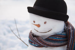 Snowman with bowler Stock Image