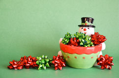 Snowman and Bows - Green Royalty Free Stock Photo