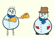 Snowman boxer and usual Royalty Free Stock Photos