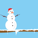 Snowman on the branch color vector illlustration Royalty Free Stock Images