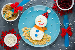 Snowman for breakfast - Christmas fun food for kids Stock Image