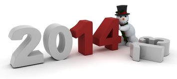 Snowman bringing in the new year Royalty Free Stock Photography