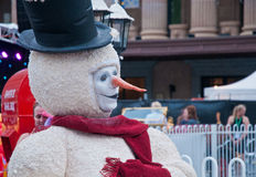 Snowman in Brisbane City Hall Australia in Lightning up Christma Stock Image