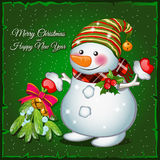 Snowman with brooch. On a green background vector illustration
