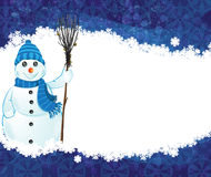 Snowman with a broom Stock Photos
