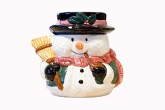 Snowman with broom. A christmas time snowman decoration Royalty Free Stock Photo