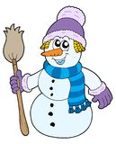 Snowman with broom. Vector illustration Stock Photos
