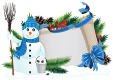 Snowman with broom and bucket Royalty Free Stock Images